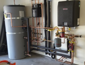 A boiler installation for radiant floor from Sun Fire Plumbing